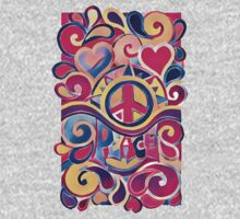 Peace and Love Hippie Retro Art One Piece - Short Sleeve