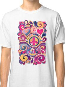 Peace and Love Hippie Retro Art Classic T-Shirt