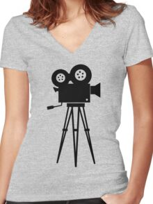 Film Camera Movies Photography Vintage Retro Women's Fitted V-Neck T-Shirt