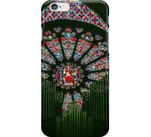 Rose window through Organ Pipes Cathedral Soissons France 198405070013 iPhone Case/Skin