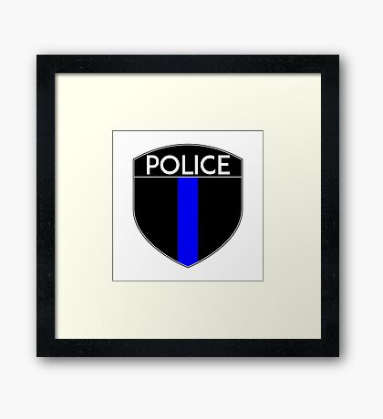 POLICE COPS THIN BLUE LINE SUPPORT CREST LAW ENFORCEMENT SHERIFF Framed Print