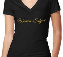 Woman: Subject Gold Women's Fitted V-Neck T-Shirt