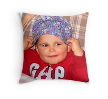 """Owen Puts on His Own Hat"" Throw Pillow"