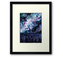 Watercolor Space And Forest Framed Print