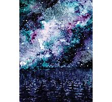 Watercolor Space And Forest Photographic Print