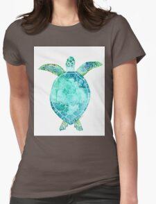 Blue Turtle, turtle art, ocean turtle swiming Womens Fitted T-Shirt