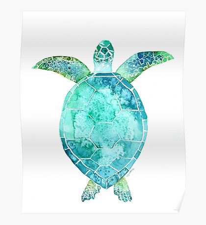 Blue Turtle, turtle art, ocean turtle swiming Poster