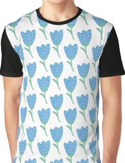 Simple doodle blue tulip pattern. Cute flower seamless background. Summer wallpaper. Graphic T-Shirt