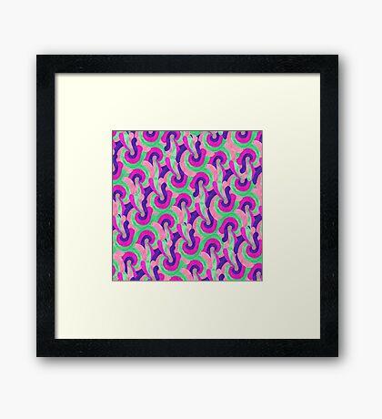Retro Pink Purple Teal Painted Swirl Pattern Framed Print