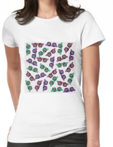 Retro 90s Sunglasses Sketched in Pink Teal Purple Womens Fitted T-Shirt