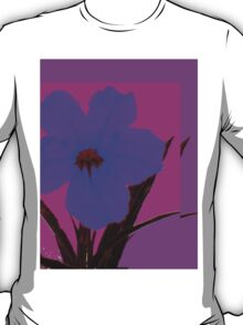Blue pop flower on Magenta T-Shirt