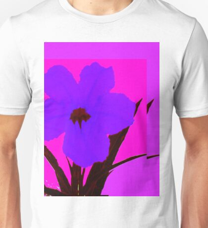 Blue pop flower on Magenta Unisex T-Shirt