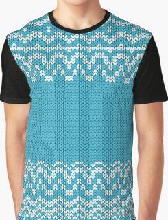 Seamless knitting blue pattern. Winter ornament background.  Graphic T-Shirt