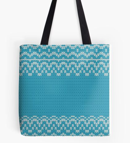 Seamless knitting blue pattern. Winter ornament background.  Tote Bag