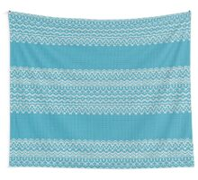 Seamless knitting blue pattern. Winter ornament background.  Wall Tapestry