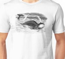Vintage Whale Swimming and Blowin' Unisex T-Shirt