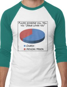 Humor: Jesus Loves You Men's Baseball ¾ T-Shirt