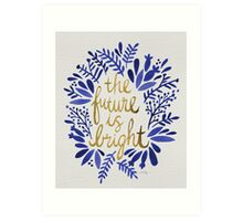 The Future is Bright – Navy & Gold Art Print