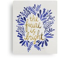 The Future is Bright – Navy & Gold Metal Print