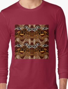 Seamless wavy vector pattern with animal prints.  Long Sleeve T-Shirt