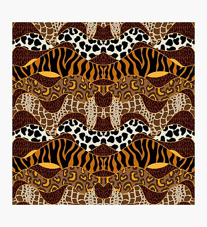 Seamless wavy vector pattern with animal prints.  Photographic Print