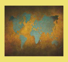World map gold green Kids Tee