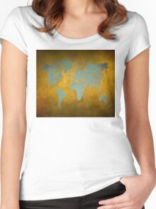 World map gold green Women's Fitted Scoop T-Shirt
