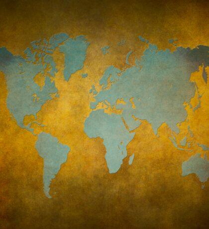World map gold green Sticker