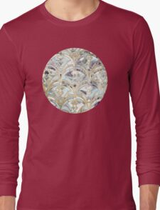 Pale Bright Mint and Sage Art Deco Marbling Long Sleeve T-Shirt