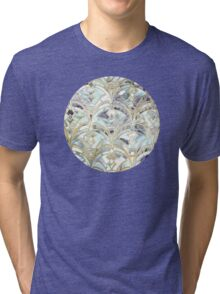 Pale Bright Mint and Sage Art Deco Marbling Tri-blend T-Shirt