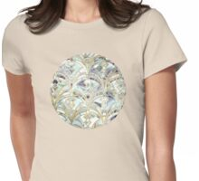 Pale Bright Mint and Sage Art Deco Marbling Womens Fitted T-Shirt