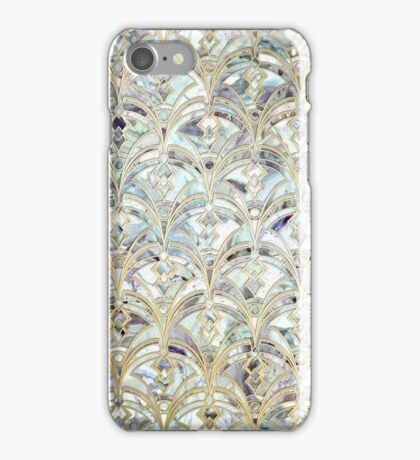 Pale Bright Mint and Sage Art Deco Marbling iPhone Case/Skin