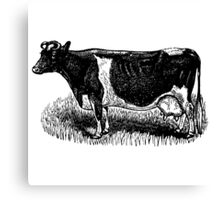 Vintage Cow on grass.  Woodcut Style Canvas Print