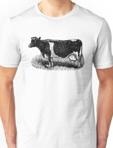 Vintage Cow on grass.  Woodcut Style Unisex T-Shirt