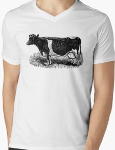 Vintage Cow on grass.  Woodcut Style Mens V-Neck T-Shirt
