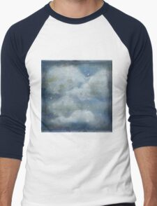 Rustic clouds and blue sky. Hand painted,modern,trendy,contemporary art Men's Baseball ¾ T-Shirt