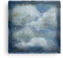 Rustic clouds and blue sky. Hand painted,modern,trendy,contemporary art Canvas Print