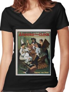 Performing Arts Posters Around the clock or Fun in a music hall the funniest show in the world 0010 Women's Fitted V-Neck T-Shirt