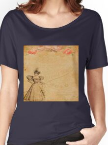 Rustic,old fashioned,victorian,collage,grunge,worn,old,parchment,floral,roses,elegant lady Women's Relaxed Fit T-Shirt