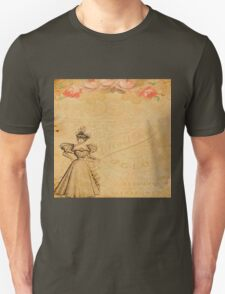 Rustic,old fashioned,victorian,collage,grunge,worn,old,parchment,floral,roses,elegant lady Unisex T-Shirt