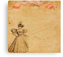 Rustic,old fashioned,victorian,collage,grunge,worn,old,parchment,floral,roses,elegant lady Canvas Print