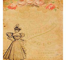 Rustic,old fashioned,victorian,collage,grunge,worn,old,parchment,floral,roses,elegant lady Photographic Print