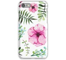 Watercolor Pink Flowers,Green and Blue  Leaves iPhone Case/Skin