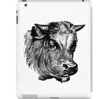 Vintage Cattle Head - Small horns - woodcut style iPad Case/Skin