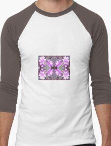 Mauve Ground Flower Fractal 706b Men's Baseball ¾ T-Shirt