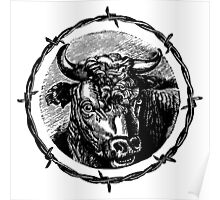 Vintage Cattle Head in Barb Wire frame - Woodcut Poster