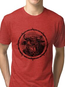 Vintage Cattle Head in Barb Wire frame - Woodcut Tri-blend T-Shirt