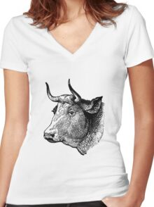 Demure Cattle Head - woodcut style Women's Fitted V-Neck T-Shirt