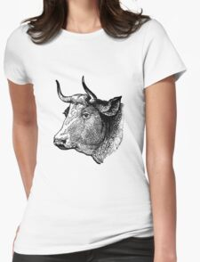 Demure Cattle Head - woodcut style T-Shirt