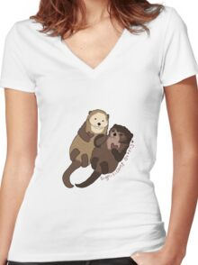 Significant Otters Women's Fitted V-Neck T-Shirt